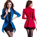 2016 Set 2 Women Clothing Set:Blazer+Dress Sexy Irregular Long Sleeve Woman Blasers Costumes Lady Vestidos Tunic Black,Blue,Red