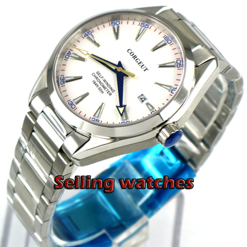 41mm Corgeut White Dial Stainless steel Case steel strap Sapphire Glass Blue Hand  Automatic Movement men's Watch