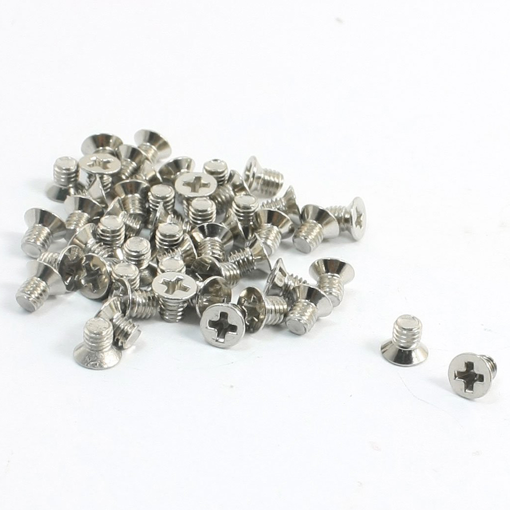 50Pcs Metal M3 x 4mm Cross Recessed Countersunk Flat Head Screws niko 50pcs chrome single coil pickup screws