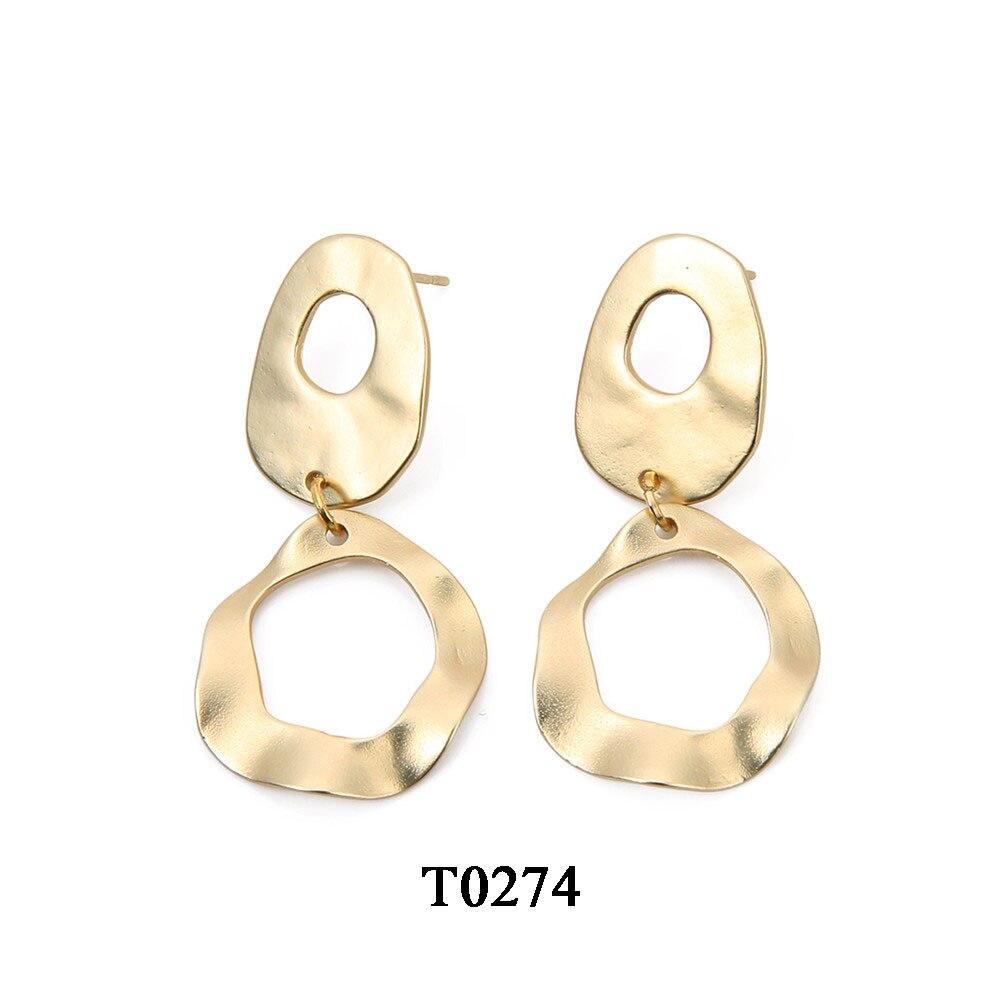 T0274A,亚金色合金镀真金耳环,大约24X47.5mm,针大约11mm