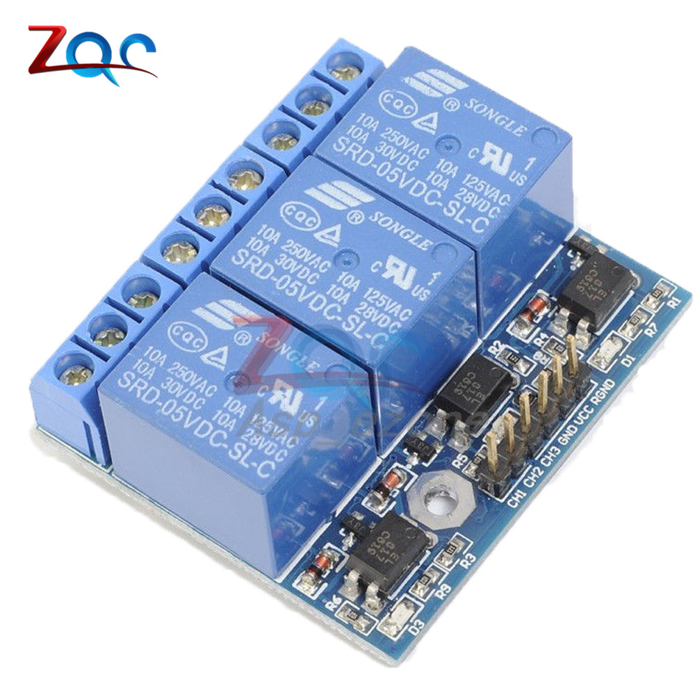 цена на 3 Channel Relay Module With Optocoupler Isolation Opto-isolated Compatible 3.3V 5V Signal High-voltage Relay