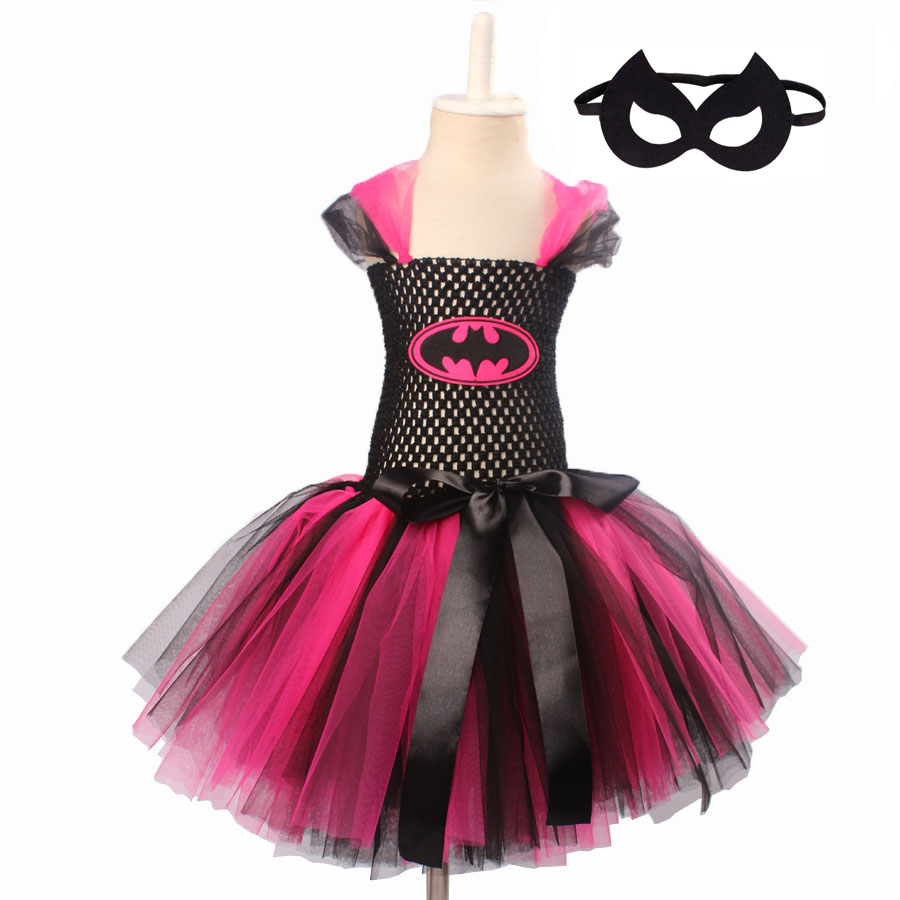 Keenomommy Super Cute Super Hero Tutu Costume Hot Pink Batgirl Girls Tutu Dress with Mask for Cosplay Party Halloween (3)