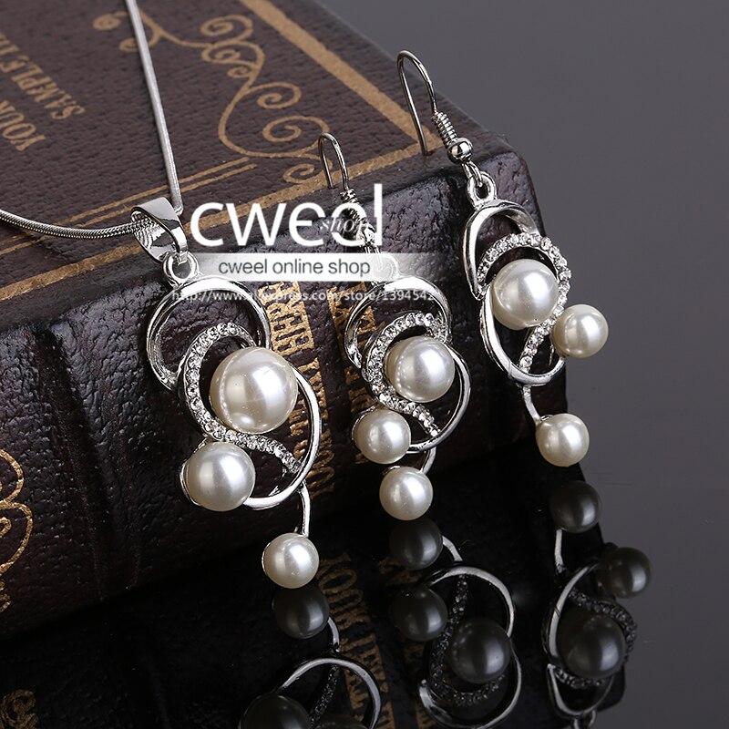 Cweel mujeres simulado pearl & crystal aretes collar de la joyería accesorios de moda del banquete de boda perlas africanas costume dress