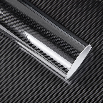 1 Pc 50*200cm negro 5D Película de vinilo de fibra de carbono película de envoltura de coche 5D rollo etiqueta engomada del coche Auto deporte Exterior película de accesorios
