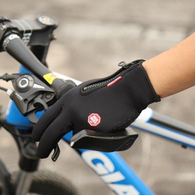 Outdoor Sports Windstopper Waterproof Gloves Black Riding Glove Motorcycle Gloves Touch Screen Black Full Finger Men 1