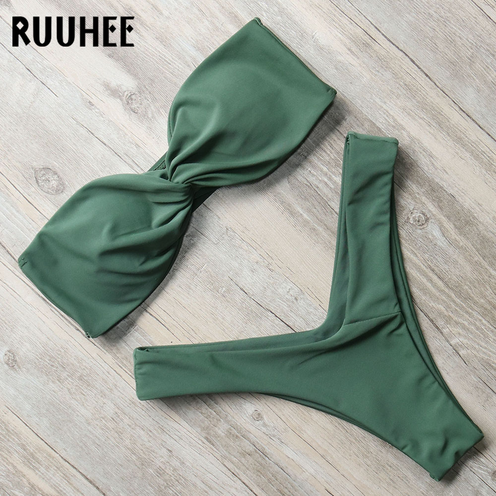 RUUHEE Swimwear Women Bikini-Set Bathing-Suit Bandeau Thong Female Beachwear with Pad