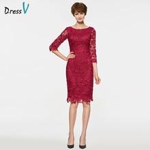Dressv Red Scoop Neck Sheath Lutut Panjang Ibu Ibu Pengantin Pakaian Half Lengan Lace Ibu Gaun Daripada Pengantin Pakaian Custom