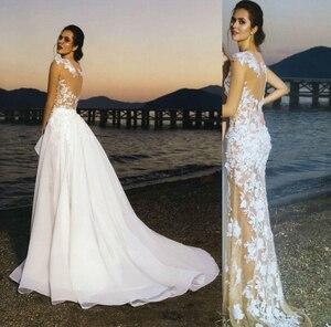 Image 4 - LORIE 2019 Neue Prinzessin Hochzeit Kleid Champagner Tüll Rock Appliqued Spitze Abnehmbare Zug Brautkleid Boho Braut Kleid