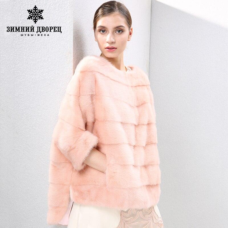 2018 automne et d'hiver nouvelle Mode Mince vison manteau femmes manteaux de fourrure de vison À Court manteau de fourrure O-cou de fourrure HIVER PALAIS