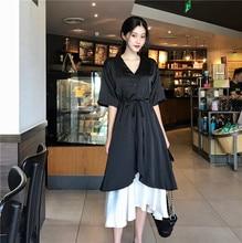 e8e44325a Oficina señora estilo mujer ropa moda marca nueva tendencia verano temperamento  falso de dos piezas patchwork v-cuello Delgado v.