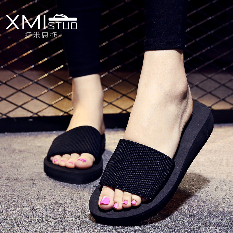 Slippers women slippers summer Word trailer Thick bottom Beach cool Slope Beach shoes woman