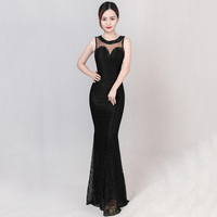 Luxury Black Floral Lace & Transparent Mesh Diamonds Special Occasion Long Dresses Evening Formal Gowns Party Dress Club Wear