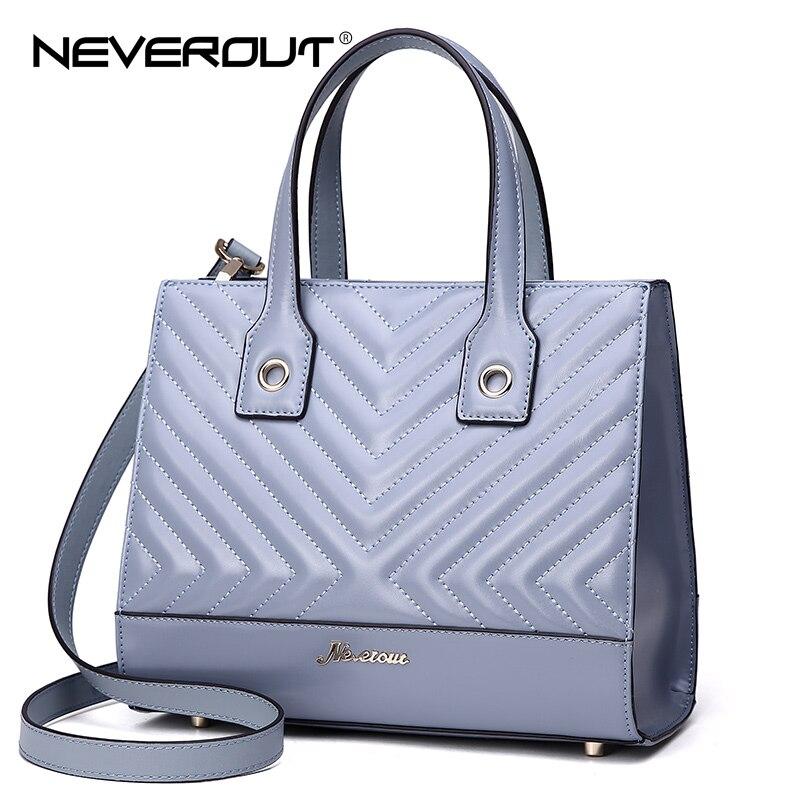 цена на NEVEROUT 2 Color Luxury Brand High Quality Bags Solid Split Leather Handbag Women Lady Handbags Tote Shoulder Sac Evening Bag
