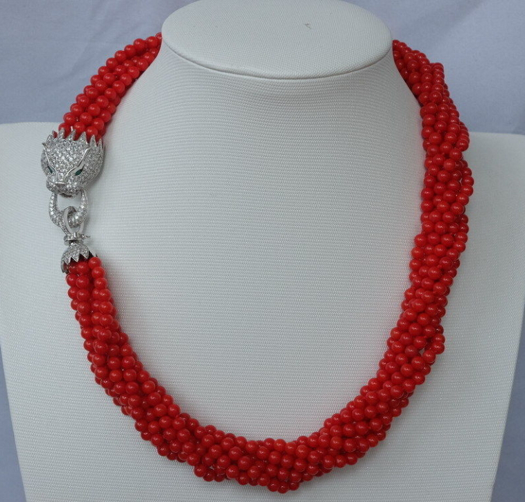 Beautiful 8strds Red Coral Round necklace zircon clasp