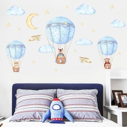 Cartoon blue hot air balloon clouds moon animal decor wall stickers for kids rooms vinyl diy nursery room removable mural decals