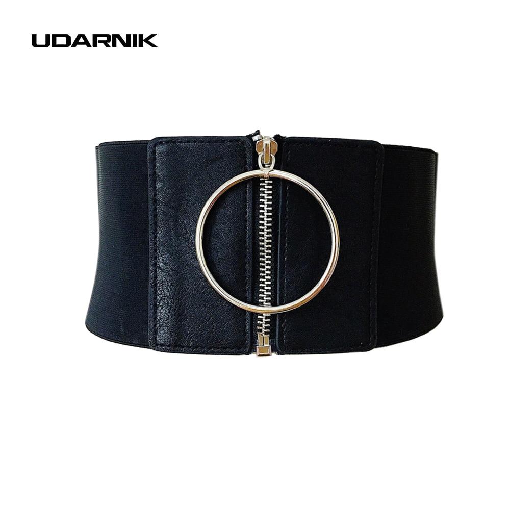 Lady Punk Waist Belt Extra Wide Corset Metal Ring Dress Cummerbund Zip Up Elastic Waistband Black New Fashion 200-A182