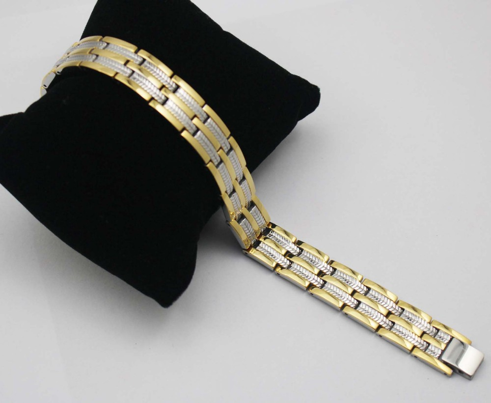 Silver Gold Two Tone Link Chain font b Bracelets b font Men Jewelry Stainless Steel Germanium