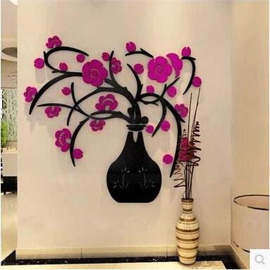 3 colours 3D flower wall sticker stereo acrylic crystal vase ...