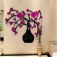 3 kolory stereo 3D kwiat naklejka ścienna akrylowa kryształowy wazon wodoodporna fototapetę decor adesivo de parede 80*89 cm muursticker