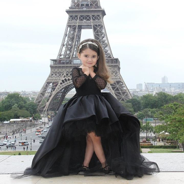 Black Ball gown Beauty Flower girl Dresses High Low Satin Sweep ...