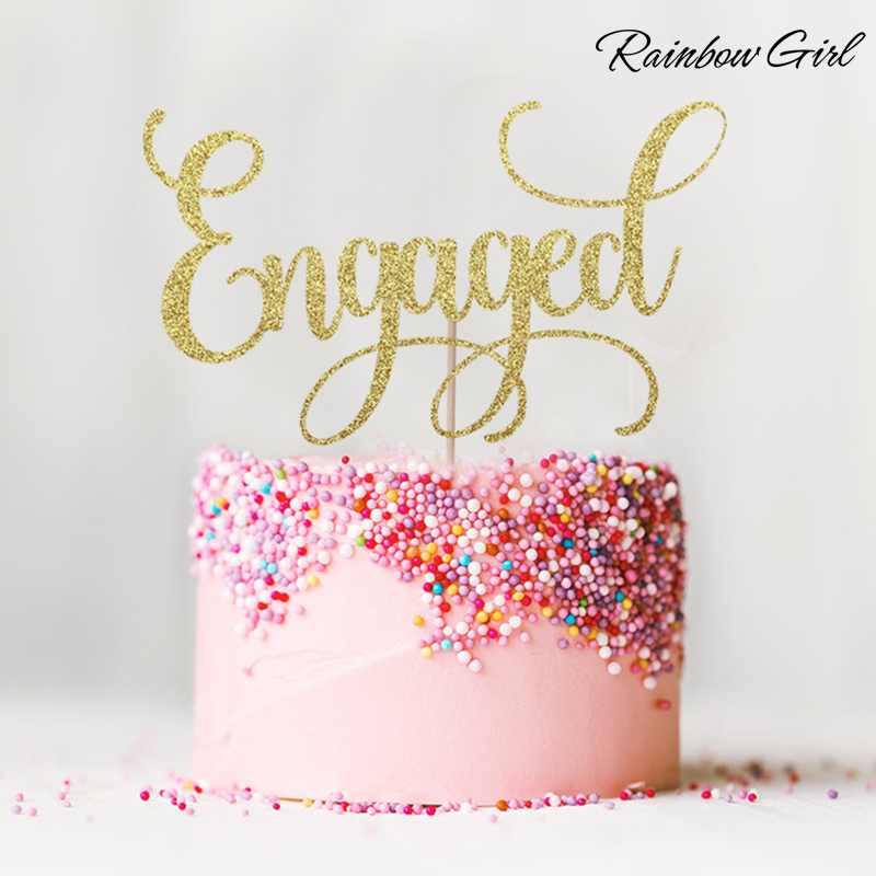 Engageret Cake Topper Mange Farver Glitter Bryllup Decor Brudebruser Forlovelsesfest Favour Dekorationer Forsyninger Kage Tilbehør