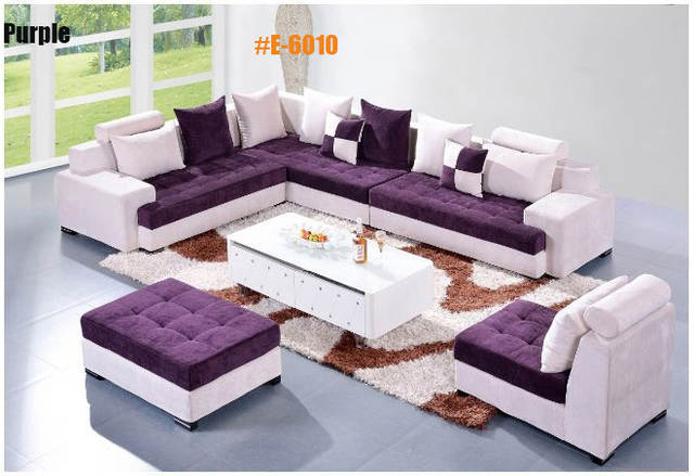 Placeholder 5 Pcs Alibaba Carved Purple Red Blue Brown Velvet Sofa Set Couch With Chaise Lounge