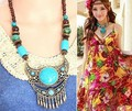 Vintage jewelry bohemian ethnic tribal gypsy india bead turguoise tassel red necklace bride accessories/maxi colar/collier femme