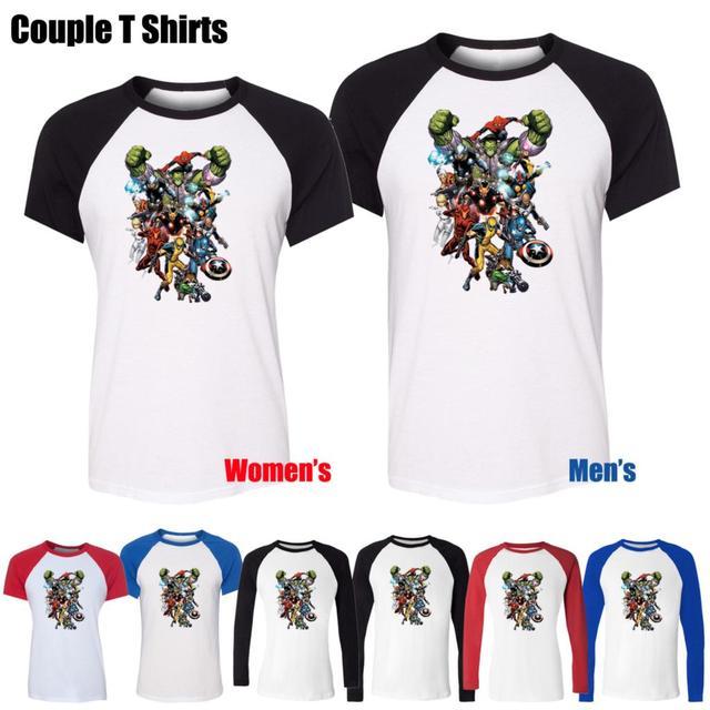 Moda homem - aranha homem de ferro Avengers Thor projeto impresso t-shirt das mulheres T Tops Red ou preto de manga da menina