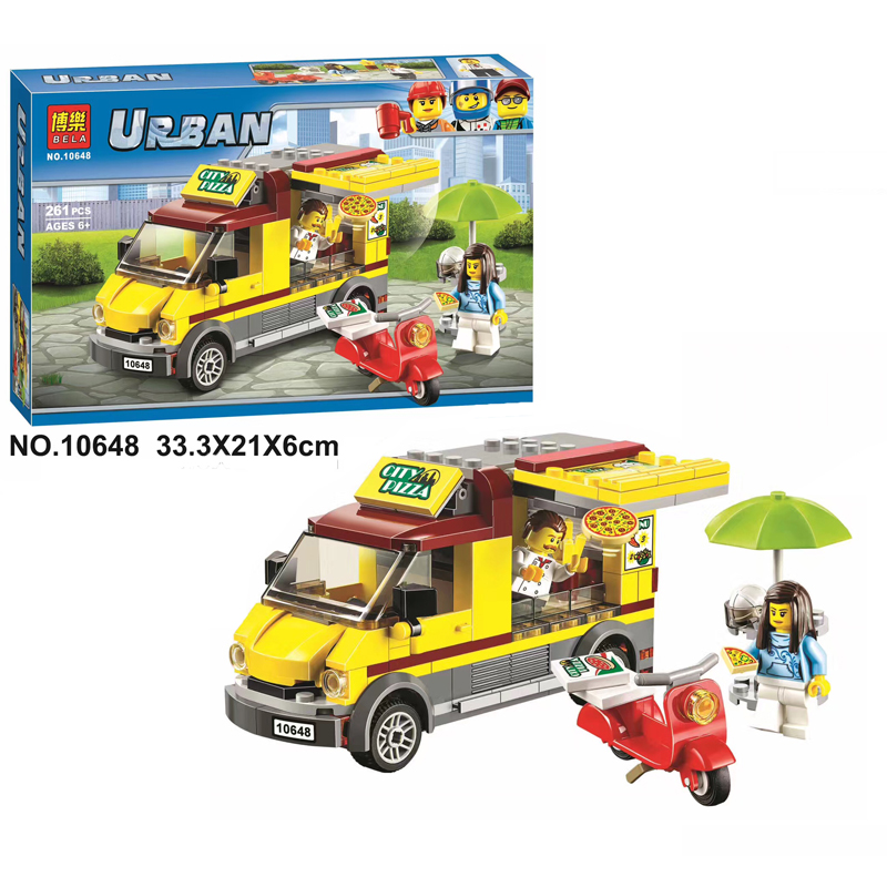 2017 New Bela 10648 261Pcs City Figures Pizza Van Model Building Kits Blocks Bricks Toys For Children Gift Compatible With 60150 10646 160pcs city figures fishing boat model building kits blocks diy bricks toys for children gift compatible 60147
