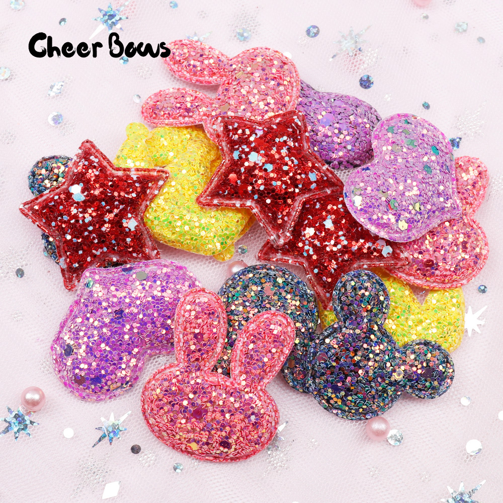 c257cca6f0 US $1.38 18% OFF|Cheer Bows Glitter Sequin Patches Star Heart Appliques for  Clothes/Hairpin DIY Scrapbooking Accessories Sewing Supplies 10pcs-in ...