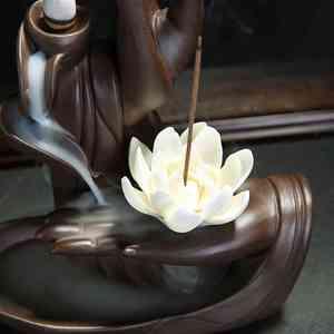 Image 2 - Creative Ceramic Waterfall Backflow Incense Burner Tathagata Buddha Lotus Incense Cones Stick Holder Use In Home Office Teahouse