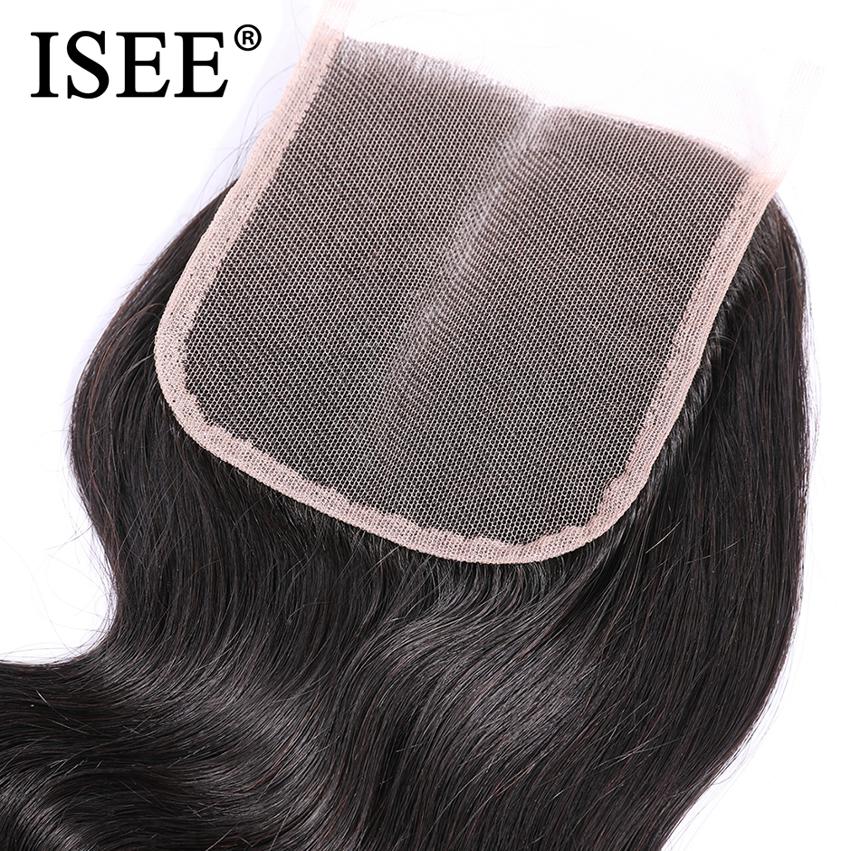 ISEE HAIR Brasileño Body Wave Closure Parte media Mano Atada 100% - Cabello humano (negro) - foto 5
