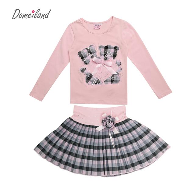 2017 Moda Primavera Boutique Outfits Define Para 2 Pcs Crianças Menina Manga longa de Algodão Camisas Tops + Saias Xadrez Tutu Com Arco conjuntos