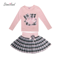 2017 Mode Lente domeiland Outfits Sets Voor 2 Stks Kids Meisje lange Mouwen Katoenen Shirts Tops + Plaid Tutu Rokken Met Boog Sets