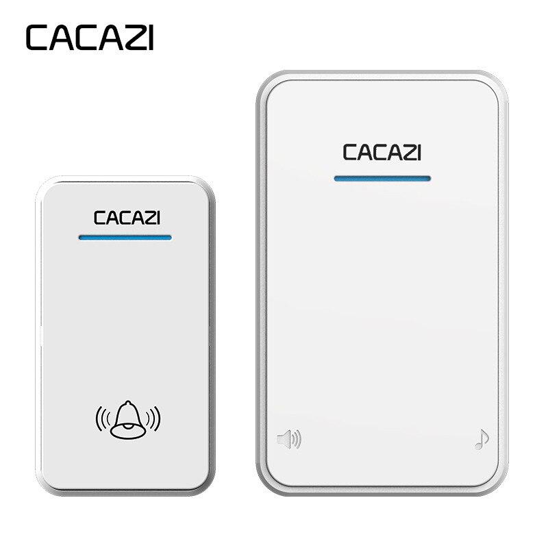 CACAZI blanc/Noir longue portée Sans Fil Sonnette DC batterie-exploité 300 m à distance 48 carillons 6 volume LED lumière Maison Sans Fil Cloche