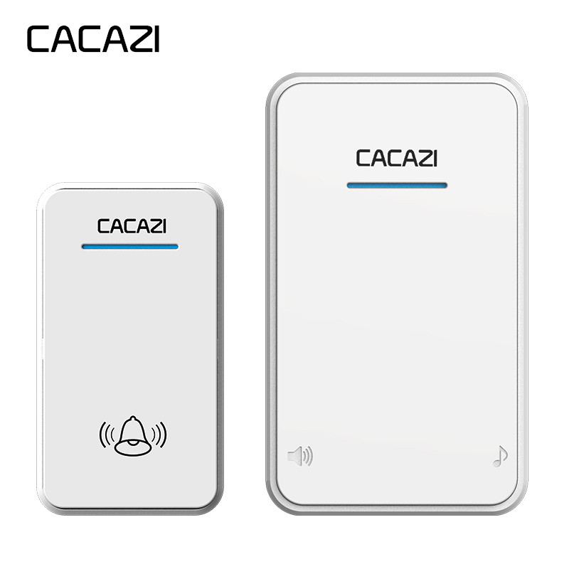 CACAZI white Black long range Wireless Doorbell DC battery operated 300M remote 48 chimes 6 volume