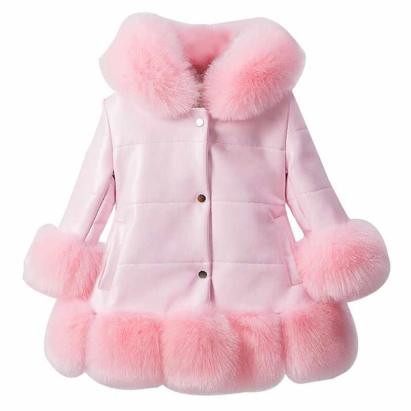 Jacke für mädchen PU Leder Patchwork Fuchs Faux Pelz Kragen Jacke Mantel Prinzessin Winter Verdicken Oberbekleidung kinder Für 3-12 jahre