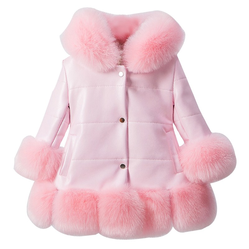 jacket for girl PU Leather Patchwork Fox Faux Fur Collar Jacket Coat Princess Winter Thicken Outerwear children For 3-12 Years winter fur hooded warm jackets for girls padded coats thicken pu leather patchwork fox faux fur collar jacket outerwear w57