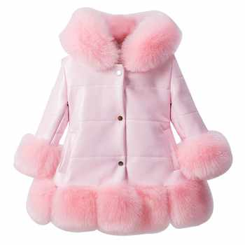 jacket for girl PU Leather Patchwork Fox Faux Fur Collar Jacket Coat Princess Winter Thicken Outerwear children For 3-12 Years - DISCOUNT ITEM  40% OFF All Category