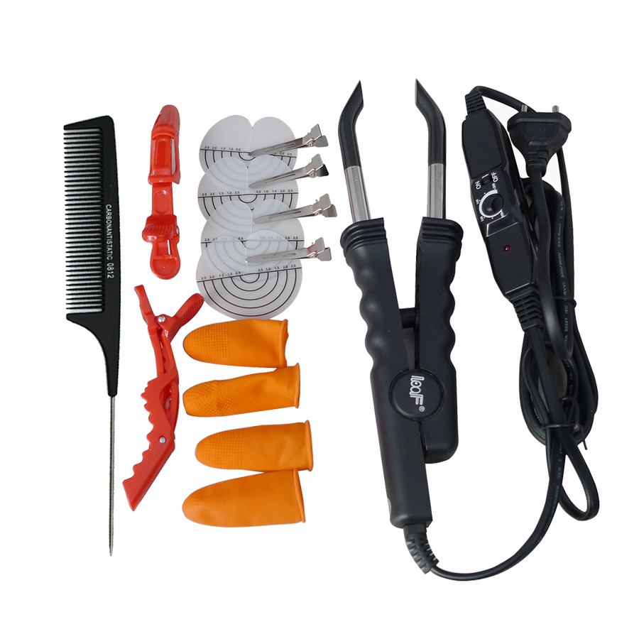 1 vnt Plaukų priauginimo sintezės geležies jungtis Temperatūra Juoda Rožiniai plaukai Jungiamieji kaiščiai Įrankiai LOOF L-618 Valdiklis