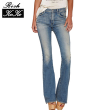 Richkoko apparel mujeres casual pantalones de talle bajo estilo apenado jeans azul sólido bolsillos con cremallera streetwear flare jeans
