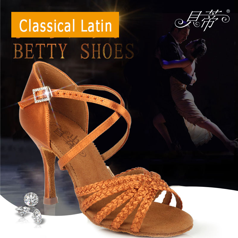 Image 2 - Latin dance shoes woman Dancing shoes for women girl Imported satin High quality professional dance shoes Deep skin Weaving AWL-in Dance shoes from Sports & Entertainment
