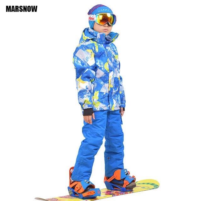 523d89d9c Chaqueta de Snowboard y pantalones 110-160 de los niños de invierno  conjunto niños Bebé