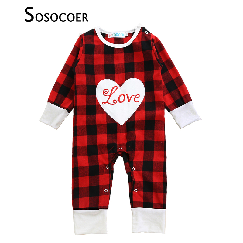 SOSOCOER Baby Girl Rompers 2017 New Autumn Plaid Heart Long-sleeve Kids Newborn Jumpsuit Romper Letter Love Infant Girls Clothes 2016 autumn baby rompers boys girls long sleeves jumpsuit 100% cotton infant romper newborn overall kids striped fashion clothes