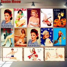 Pin Up Girl Metal Tin Signs Sexy Lady Vintage Poster Sweet Pickin Art Painting Craft Pub Bar Club Garage Home Wall Decor N292