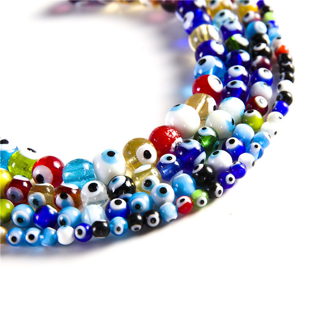 Aliexpress.com   Buy Wholesale 4 6 8 10 12 14mm Multicolour Turkey evil  eyes beads glass beads for DIY Jewelry Making Finding bracelet necklace  from ... 6c66a0b75537