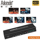 Aikexin 4X1 HDMI Multi-Viewer HDMI Quad Screen Real Time Multi-Viewer HDMI Splitter Seamless Switcher 1080P 3D with IR Control