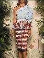 2017 Весной Дизайнер Бренда Случайный Костюм женский Набор Юбка Дамы С Плеча Синий Рубашка Топы + Цветочный Принт Карандаш юбка 2 Шт.