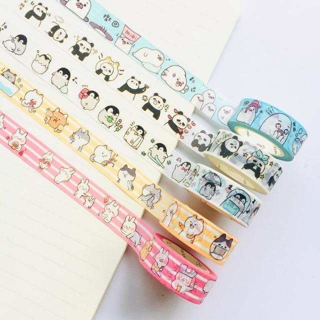 1 Roll 1.5cm*7M Cute Animals Penguin Cat Panda Otter Rabbit Masking Washi Tape Album Scrapbooking Decor Stick Label 1