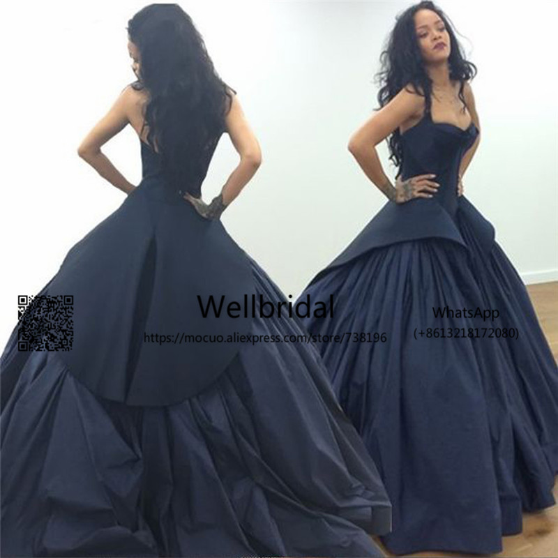 Unique 2017 Dark Blue   Prom     Dresses   Long with Ruffles Satin Halter Off shoulder Puffy   Prom   Evening   Dress